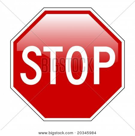 Vector illustration of Stop sign isolated on pure white with glossy effect