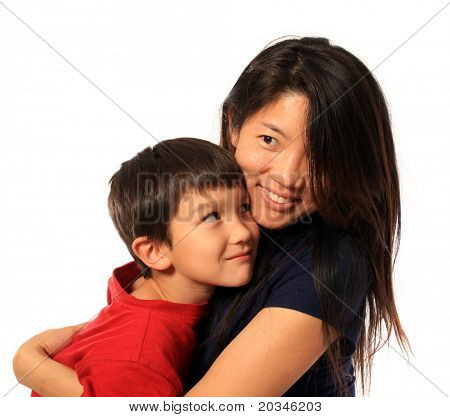 6 Years old hugging mom