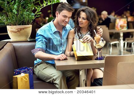 young couple enjoying their shopping