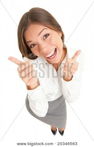 Happy thumbs up success woman isolated on white background. High angle top view image of cheerful joyous asian caucasian young woman smiling in full length.