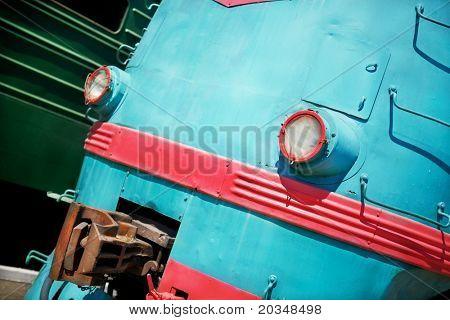 part of old locomotive , selective focus on nearest lamp