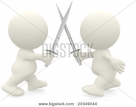 3D men fighting with swords - isolated over white
