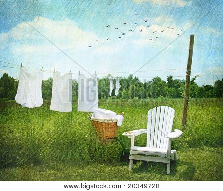 Laundry drying on clothesline on beautiful summer's day