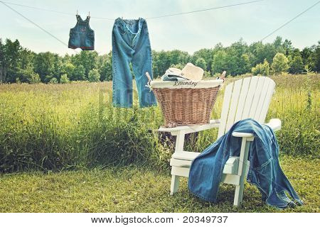 Jeans hanging on clothesline on a sunny summer afternoon