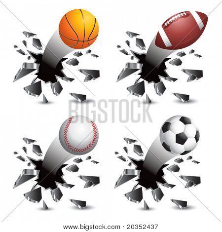 Basketball, football, baseball, and soccer ball crashing through wall