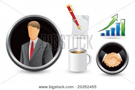 Businessman, handshake, business growth, notepad and pen, and coffee cup
