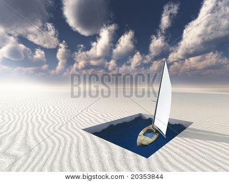 Abstimmung im Quadrat der Wasser in eine Wüste Fläche