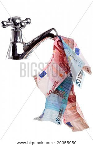 Photo of a tap or faucet with money flowing from it, good cashflow concept image, isolated on a white background.