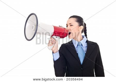 Business Woman Shouting Into Megaphone