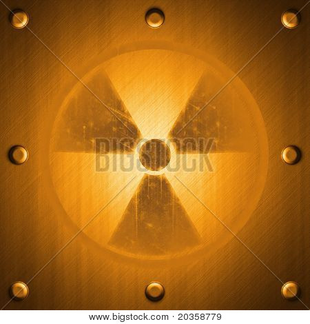 Radiation Sign On Metal Surface Effect Background