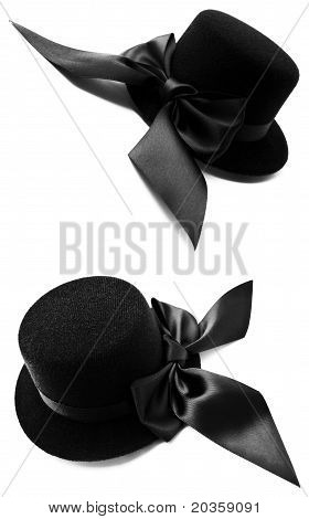 Black Womens Top Hats With Bows
