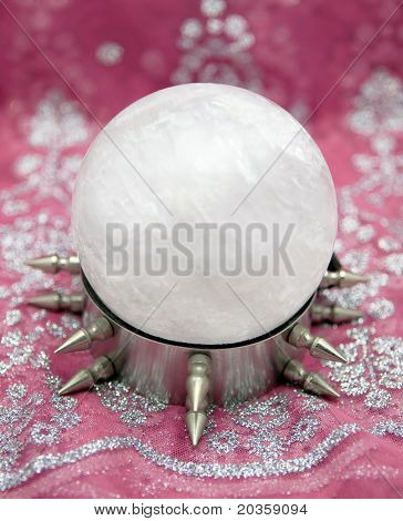 Huge Quartz Crystal Ball On Wild Steel Stand