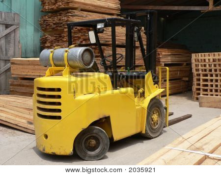 Yellow Forklift On Warehouse