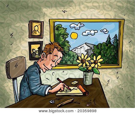 Hombre de dibujos animados garabatos en su escritorio