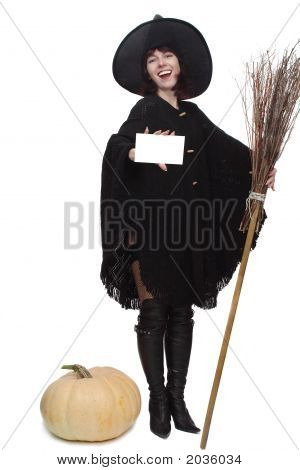 Witch Holding A Card