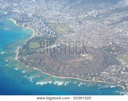 Aerial Of Diamond Head Crater, Waikiki, And Honolulu