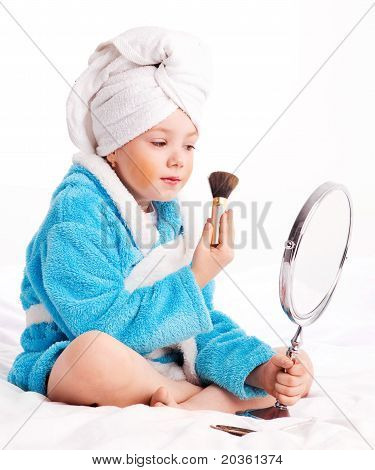 Child With A Mirror And A Brush