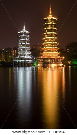 Silver Gold Pagodas Guilin, Guangxi, China Night Shot