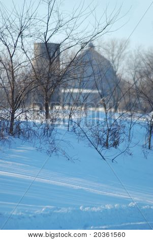 Blue Winter Barn