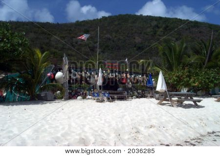Vacant Beachside Bar In Caribbean