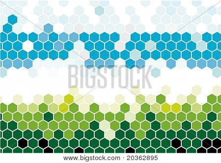 Hexagonal mosaic in nature colors