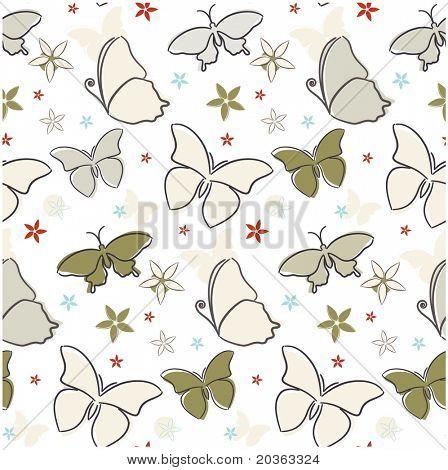 Seamless butterfly pattern (vector)
