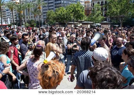 VALENCIA, SPAIN - MAY 20: Unidentified demonstrators at the town hall square in Valencia, Spain, May 20, 2011. Spaniards are protesting sky high unemployment and the government austerity plans.
