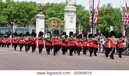 LONDON, UNITED KINGDOM - MAY 6: Coldstream Guards on May 6, 2011 in front of Buckingham Palace in London, UK. The 7 company is involved in the Changing of the Guard every day at 11.30 AM.
