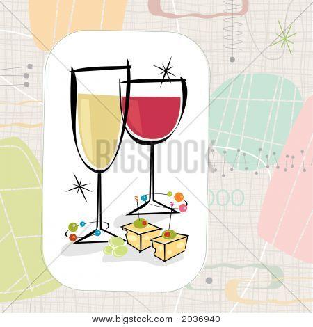 Retro Wine And Cheese