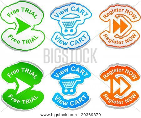 """""""Free trial"""", """"view cart"""", """"register now""""  vector stickers."""