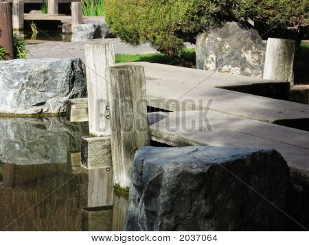 Japanese Garden Wooden Bridge