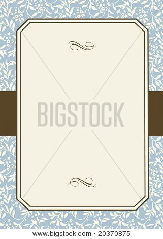 Vector Striped Floral Pattern and Frame. Easy to edit. Perfect for invitations or announcements.