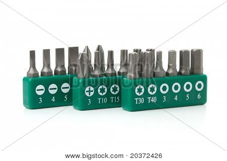 Tools collection - Set of heads for screwdriver (bits). Isolated on white background