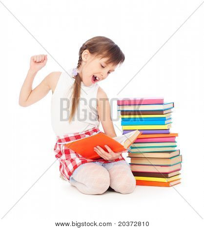 portrait of drowsy little girl with books. isolated on white background