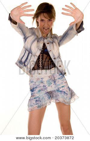 attractive girl saying yeah