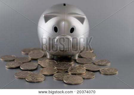 piggy bank on the pile of coins
