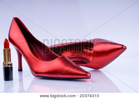 high heel shoes and lipstick - female weapon