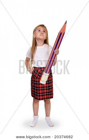 schoolgirl holding a huge pencil, cold be used for schoolwork and problem solving concept
