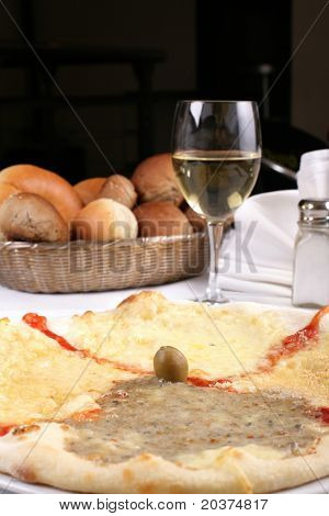 pizza with four kinds of cheese, Italian specialty