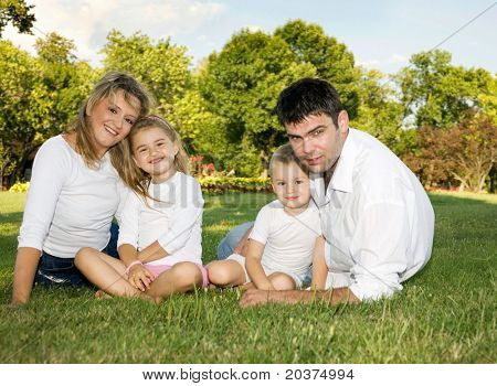 family on a sunny day at the park