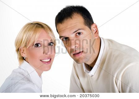casual portrait of a happy couple in 20s, white isolated