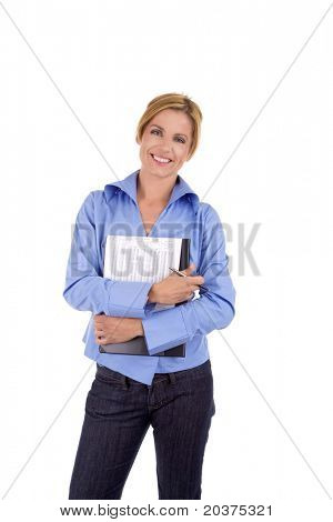 confident businesswoman in 30s, white isolated