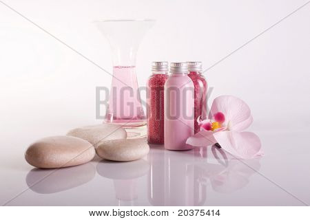 aromatherapy setup with orchid flower