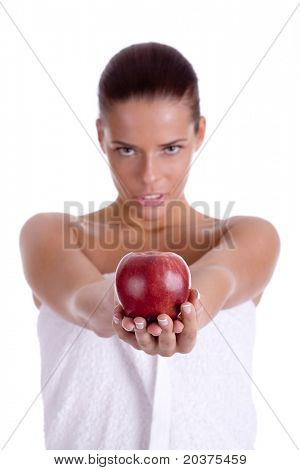 girl is holding an apple, healthy food concept