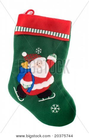 Christmas sock waiting to be filled with presents, white isolated
