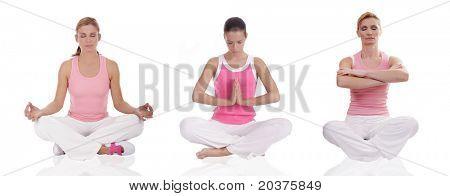 three women practicing yoga, healthcare concept