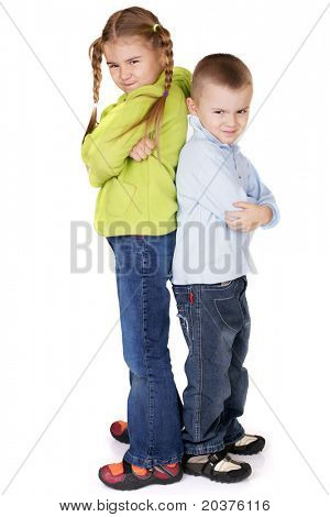 preschool children playing or fighting,