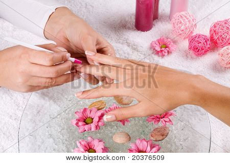 manicure treatment at the spa salon