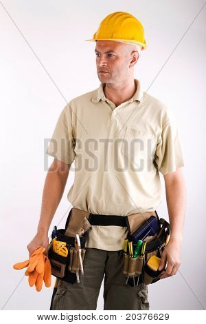 construction worker or handyman with tools