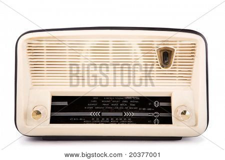 old vintage radio, clipping path included, white isolated